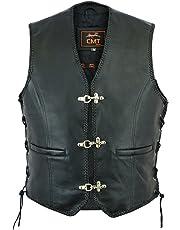 CMT Sports Men's Finest Genuine NAPA Leather Biker Waistcoat Classic Cut Motorcycle Motorbike Gilet Biker Vest