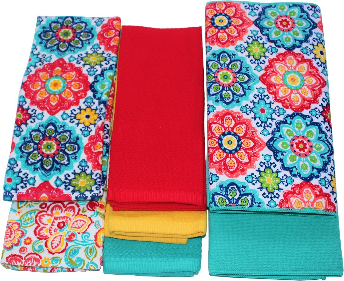 Matching Drying Mat and Kitchen Towel Set, Teal Medallion Theme Bundle