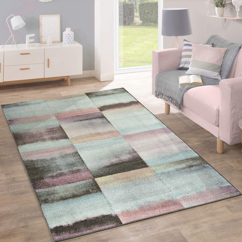Colore:Lila Dimensione:70x140 cm Tappeto Shaggy A Pelo Alto A Pelo Lungo Decorato A Quadri Grigio Nero Bianco