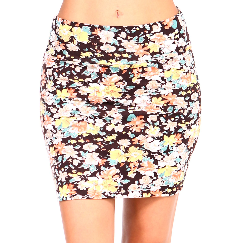 Fashionazzle Women's Basic Pintucked Mini Pencil Skirt Stretch Fabric WCSAMB1606288603