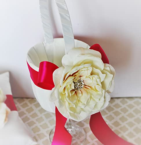 Amazon wedding flower girl basket ivory off white and fuchsia wedding flower girl basket ivory off white and fuchsia with cream flower customizable mightylinksfo