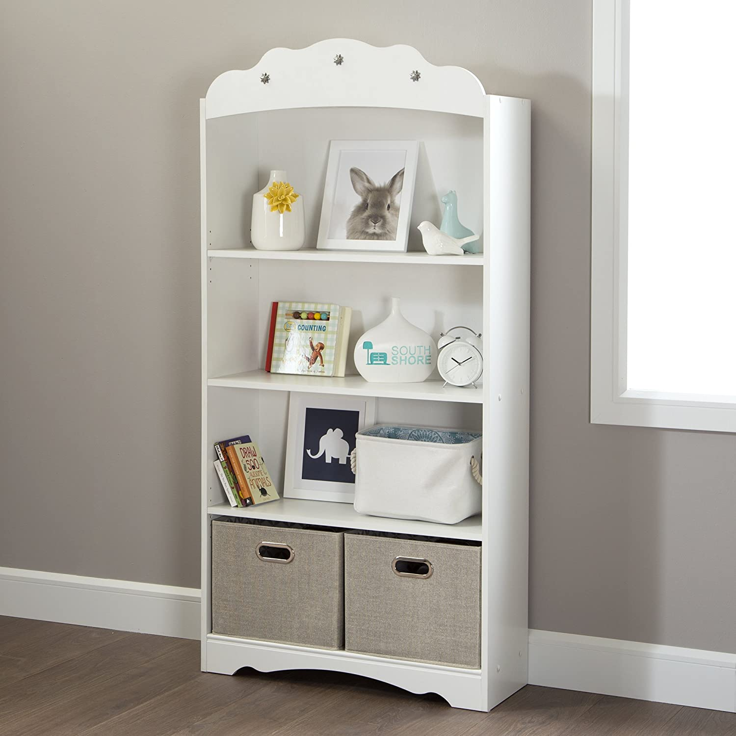 Amazon.com: South Shore Tiara 4 Shelf Bookcase, Pure White: Kitchen U0026 Dining
