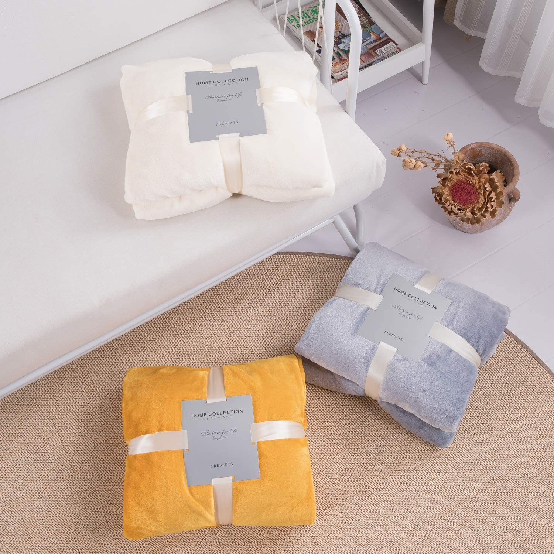 Throw Blanket Flannel Fleece Blanket with Decorative Pompom Fringe Lightweight Soft Cozy Bed Fluffy Plush Blanket Luxury Tassels Mustard Blanket for Sofa Chair Indoor Outdoor Yellow, 51x 63