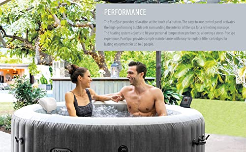 Intex 28439E Greywood Deluxe 4 Person Inflatable Spa/Hot Tub w/ LED Light 3 Pack Type S1 Pool Filter Cartridges w/ Attachable Cup Holder and Refreshment Tray Inflatable Headrest Maintenance Kit