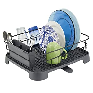 mDesign Large Kitchen Countertop, Sink Dish Drying Rack with Removable Cutlery Tray and Drainboard with Adjustable Swivel Spout - 3 Pieces, Black Wire/Slate Gray Plastic Cutlery Caddy and Drainboard
