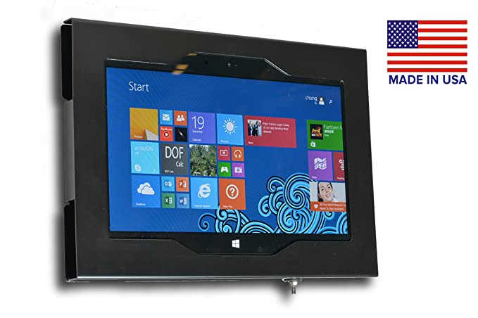 MS Surface Pro 3, Pro 4, Pro 2017 Locking Wall Mount Metal Enclosure for  Kiosk, POS, Store, Show Display (Black)