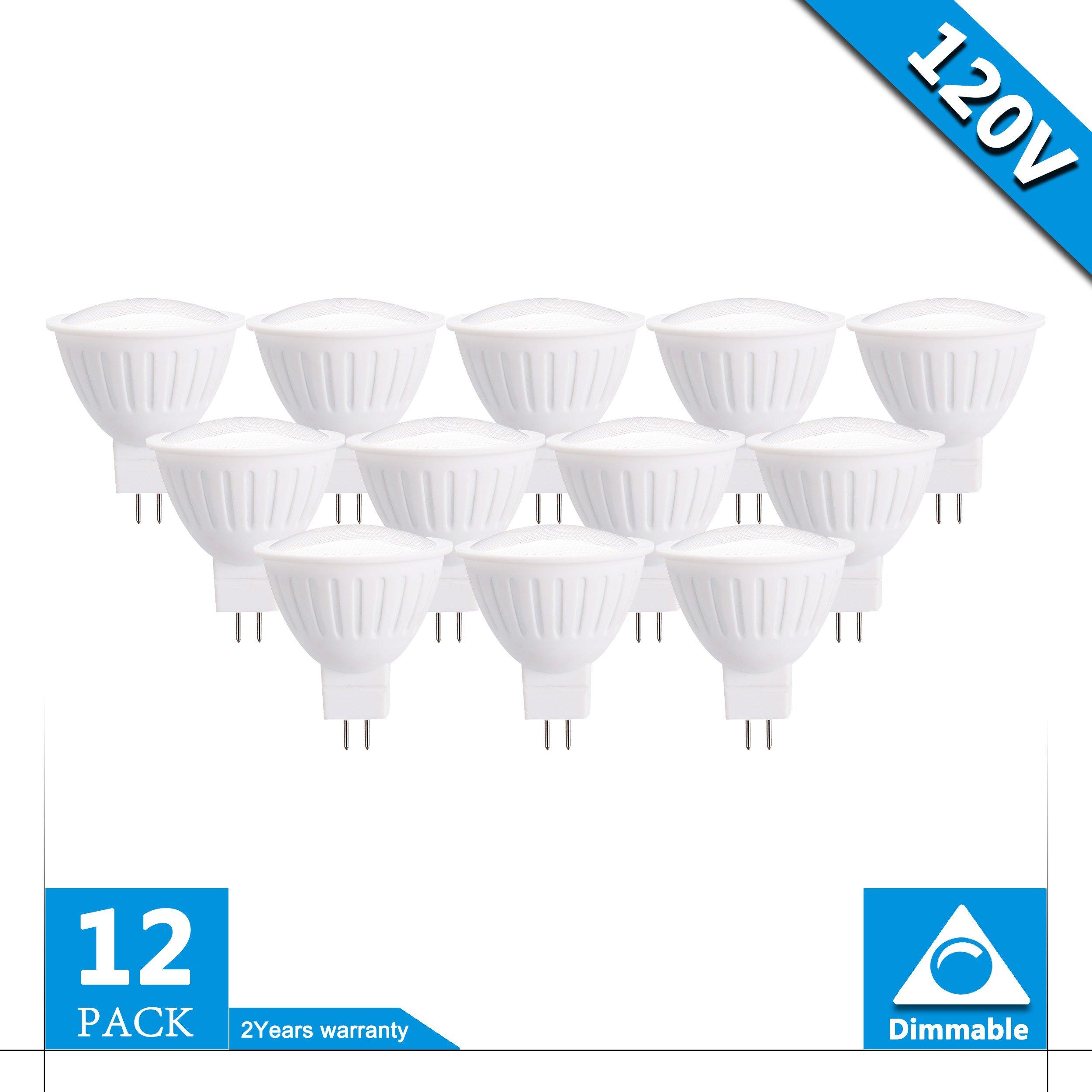 (Pack of 12) 5W 120V Dimmable gu5.3 Led Light Bulbs 50W Equivalent, 100% Aluminum Reflector 5000K Daylight White, 120 Degree Beam Angle, CRI>85,Track Lighting, Recessed Light