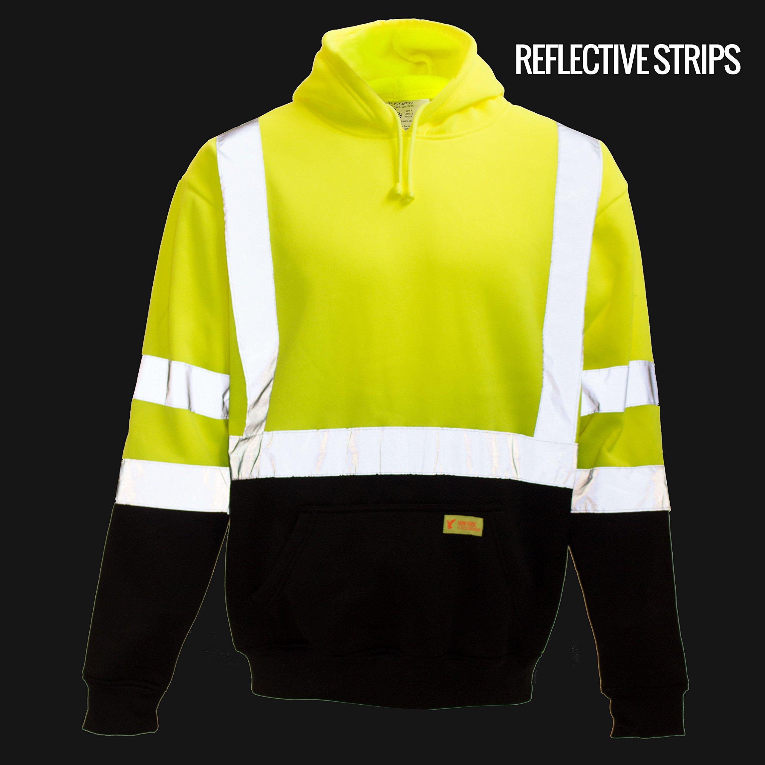 New York Hi-Viz Workwear H8312 Men's ANSI Class 3 High Visibility Class 3 Sweatshirt, Hooded Pullover, Knit Lining, Black Bottom (Lime, Large) by New York Hi-Viz Workwear (Image #4)
