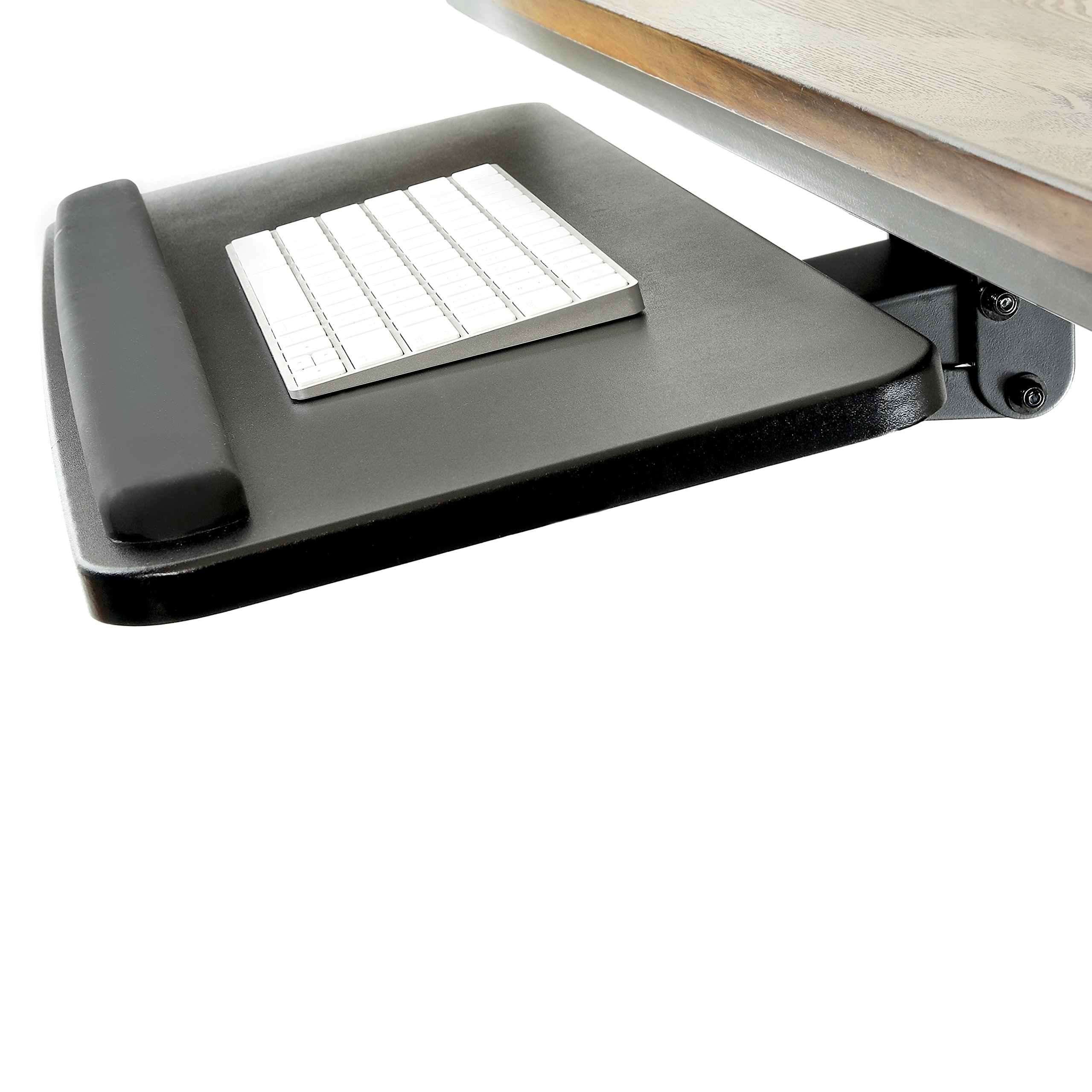 Easy Slide Keyboard Tray System with Adjustable Height and Angle - Comfortable Under Desk Computer Keyboard Platform Drawer with Padded Wrist Support