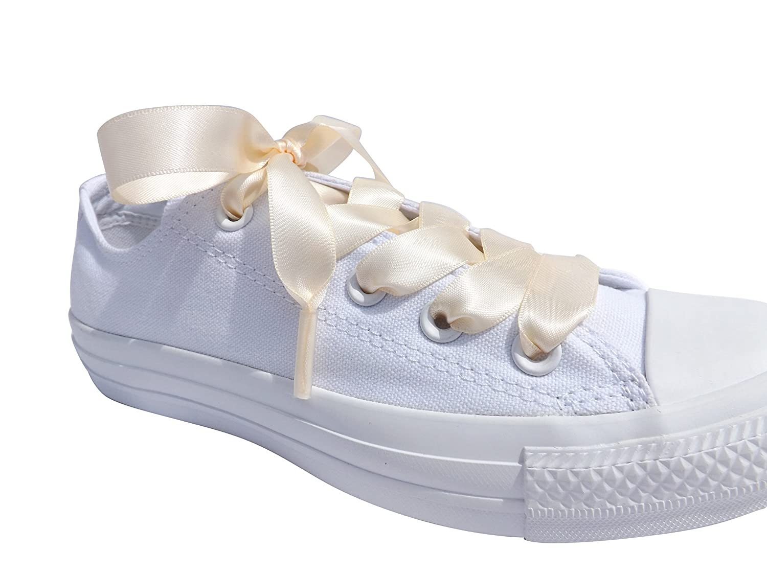 a943a38113ea Amazon.com  Cream Flat Satin Ribbon Shoelaces