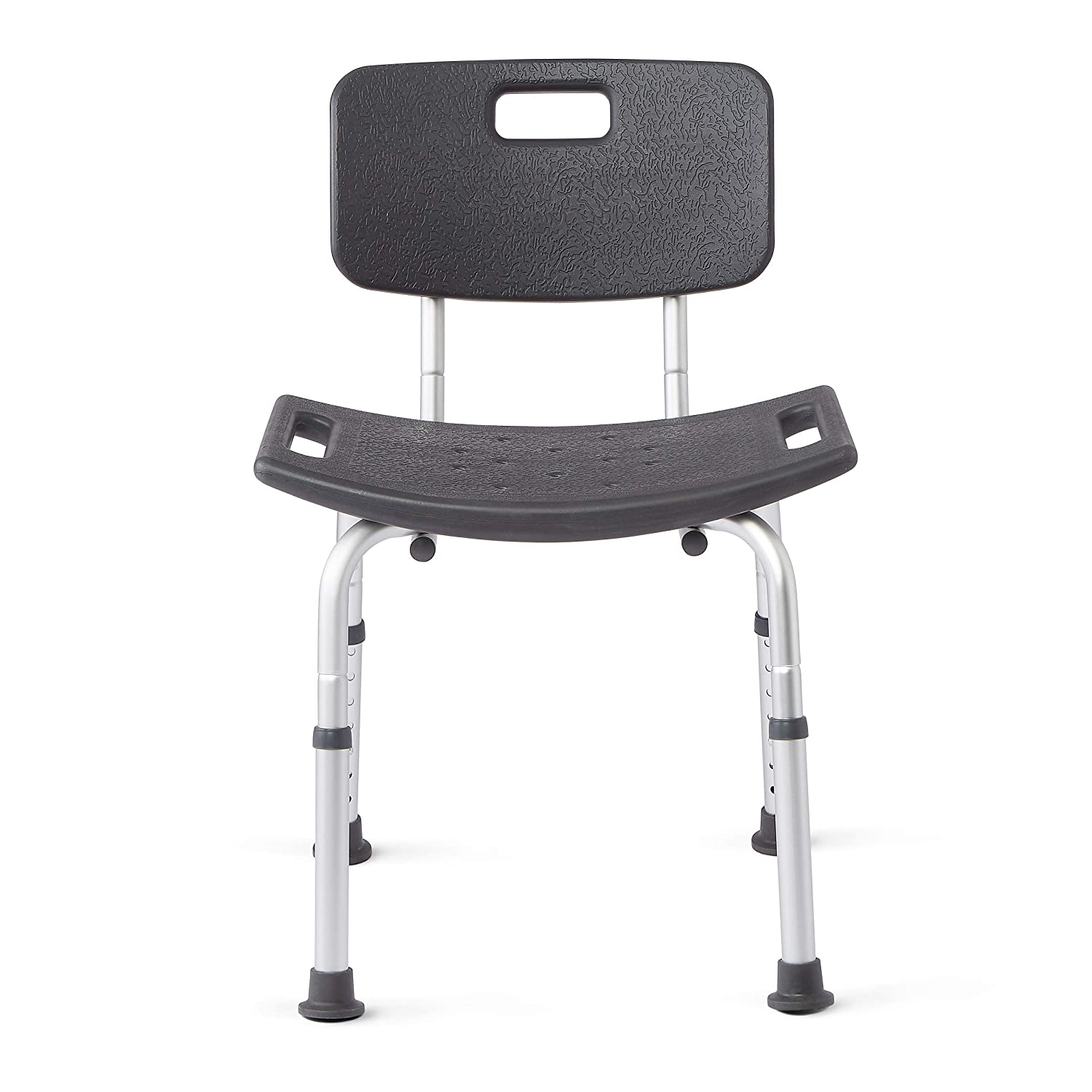 Medline Shower Chair Bath Bench With Back, Supportsup To 300 Lb, Infused With Microban Antimicrobial Protection, Gray