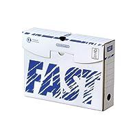 Fast Lot de 10 Boites archives manuelles 8 cm Blanc/Bleu