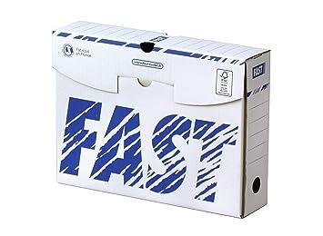 Fast - Lote de 10 cajas archivadoras (manuales, 8 cm, blanco/azul): Amazon.es: Oficina y papelería