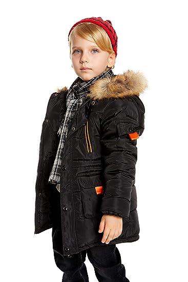 e16434cd497c Romance Zone Doudoune Enfant Garçon Hiver Epaisse Chaud Manteau à Capuche Fausse  Fourrure Blouson Coton Zipper