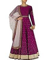 MRS Women's Multi Beige Faux Cotton Anarkali Salwar Suit