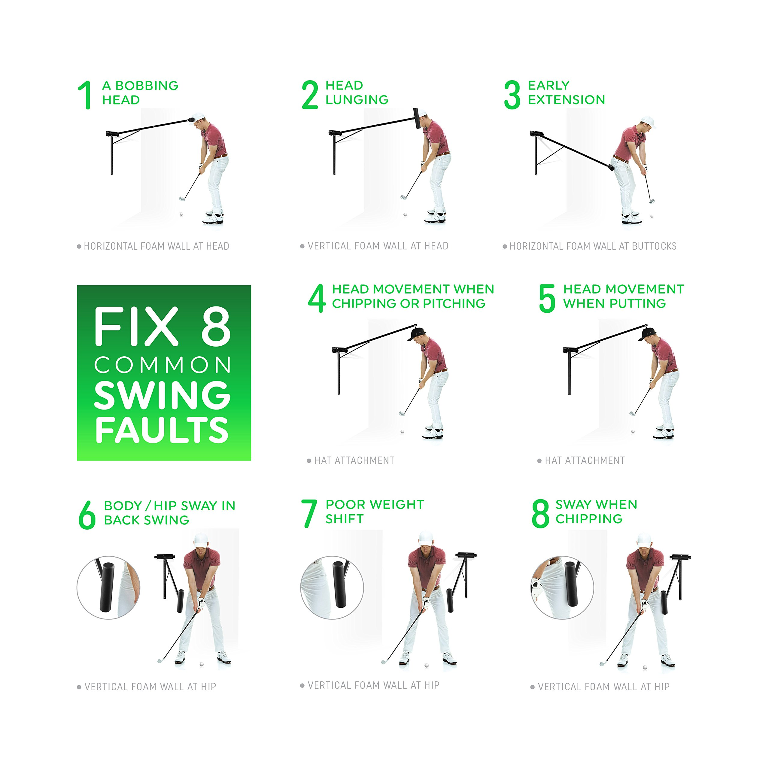Golf Swing Trainer PRO-HEAD - Wall or Tree Golf Training Aid Equipment for All Golfers - Posture Correcting Tool - Fix and Keep a Steady Head, Maintain Spine Angle - Practice Indoor & Outdoor by PRO-HEAD (Image #5)