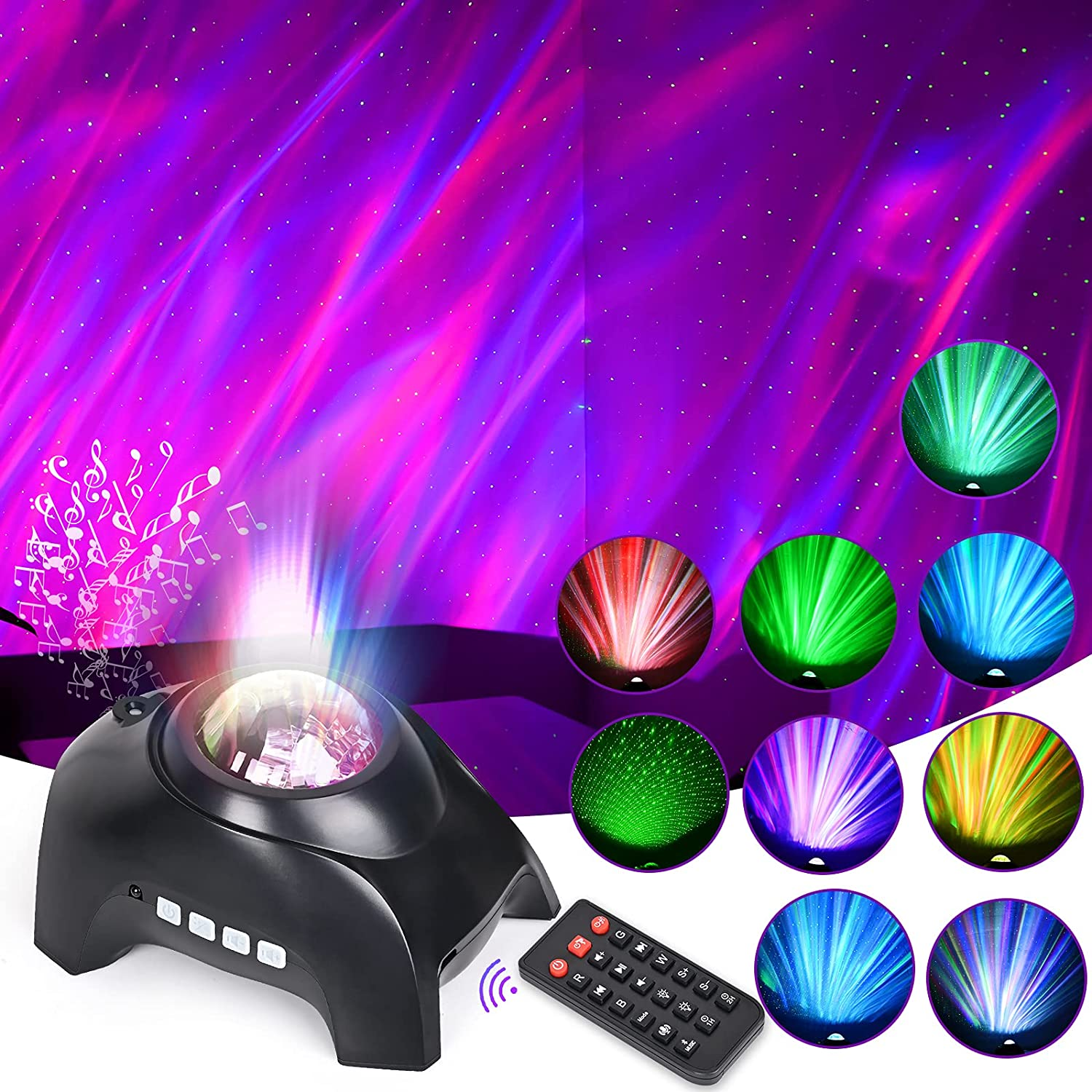 LED Aurora Projector, Star Projector Bluetooth Music Speaker, White Noise Night Light Galaxy Projector for Kids Adults , for Kids Adult Room Decor/Birthday/Party