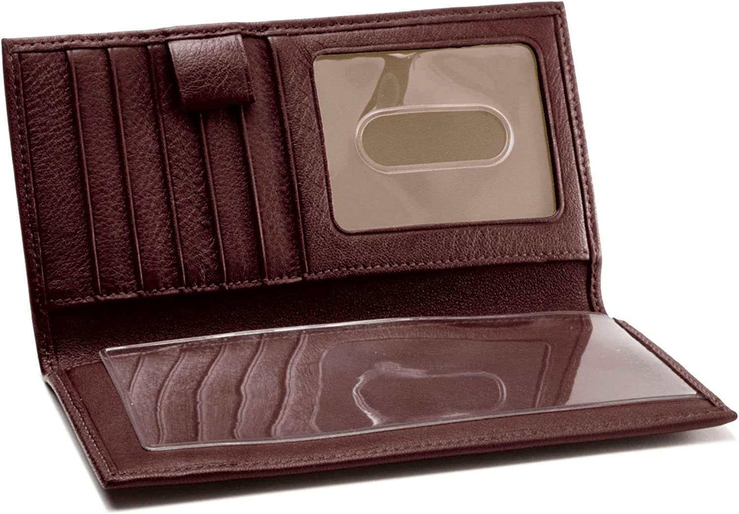 Leatherology Checkbook /& Card Holder with Divider and Pen Loop