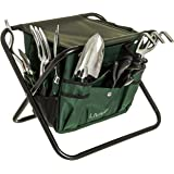 BDUK Folding Gardening Tool Stool Set with 5 Essential Garden Hand Tools – Includes Dibber, Cultivator, Fork, Broad Trowel, Narrow Trowel and Gardening Gloves – Detachable Clip On Bag with Carry Handles for Collecting Garden Waste and Storing Tools for Quick and Easy Access – A Must Have Accessory for Any Green Fingered Fanatic