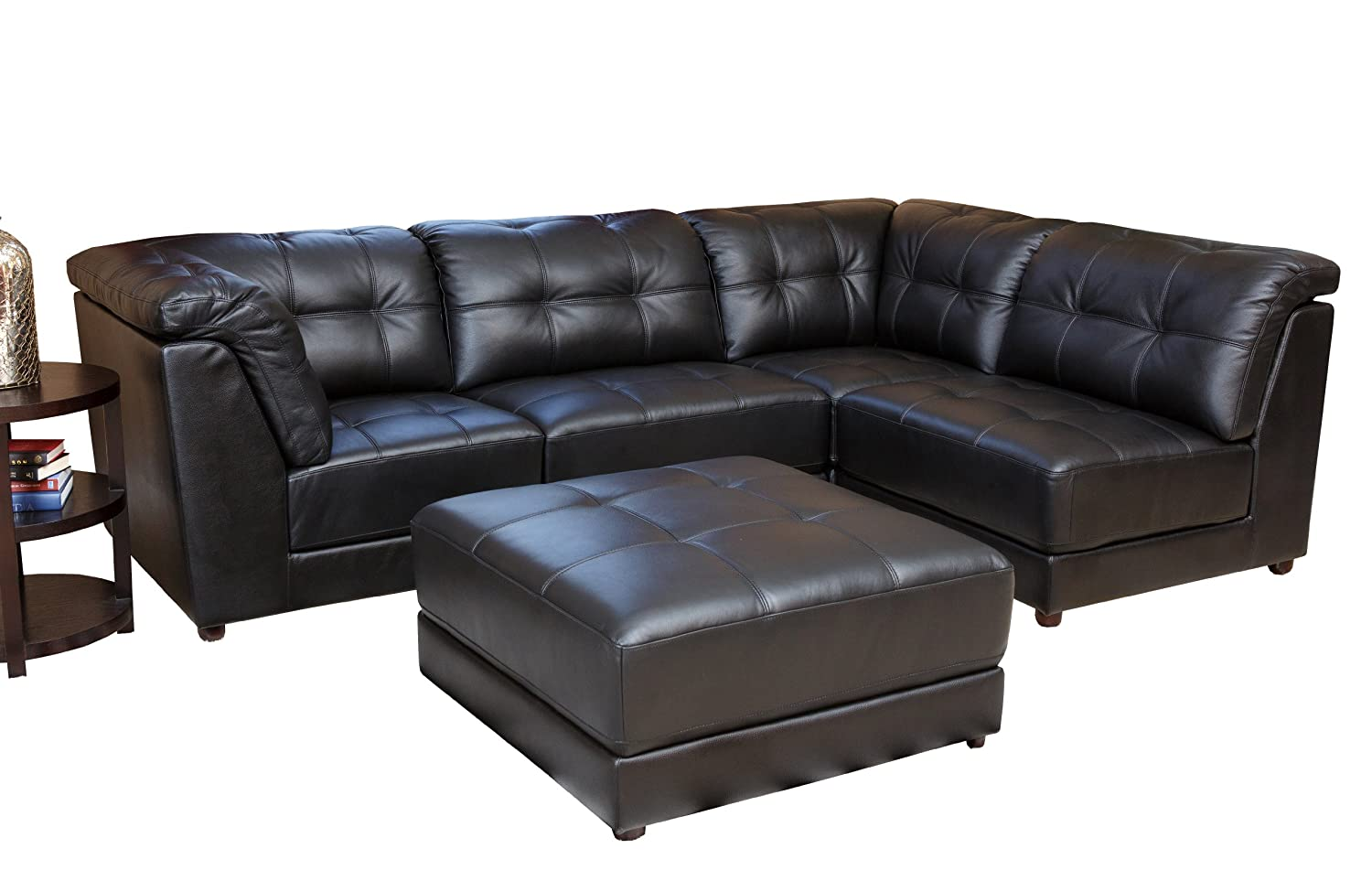 amazoncom abbyson donovan 5piece modular leather sectional sofa black home u0026 kitchen