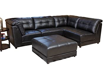 Abbyson Donovan 5-Piece Modular Leather Sectional Sofa Black  sc 1 st  Amazon.com : leather modular sectional - Sectionals, Sofas & Couches