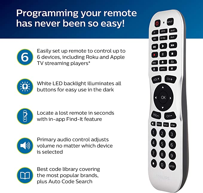 Philips SRP2017B/27 - Mando a distancia Bluetooth para Samsung, Vizio, LG, Sony, Sharp, Roku, Apple TV, RCA, Panasonic, Smart TV, reproductores de streaming, Blu-Ray, DVD, Find It Feature, 6-Device, color plateado: Amazon.es: