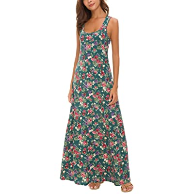 Urban CoCo Women's Floral Print Sleeveless Tank Top Maxi Dress at Women's Clothing store