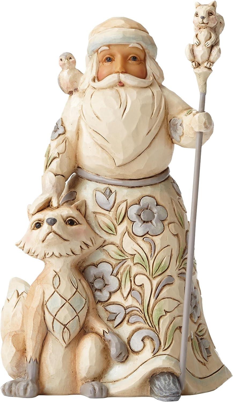 "Jim Shore Heartwood Creek White Woodland Santa with Fox Stone Resin Figurine, 5.25"""