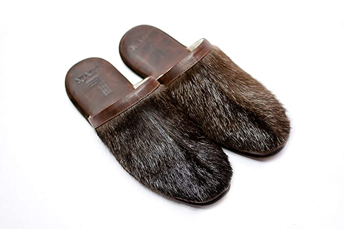 3a7d73b4c7f3e Amazon.com: Brown Slippers, Men's House Shoes, Leather Slippers ...