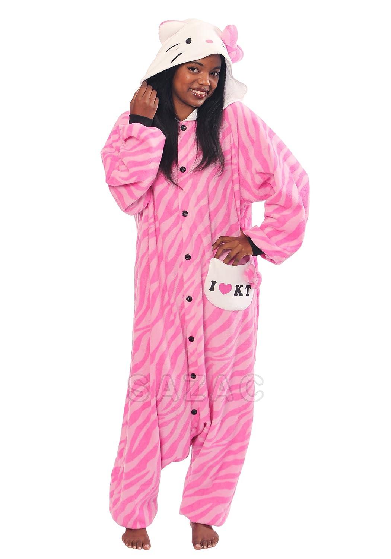 amazoncom hello kitty zebra pink kigurumi adult halloween costume clothing - Halloween Hello Kitty Costume