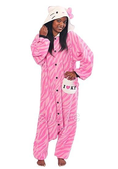 Hello Kitty Zebra Pink Kigurumi - Adult Halloween Costume