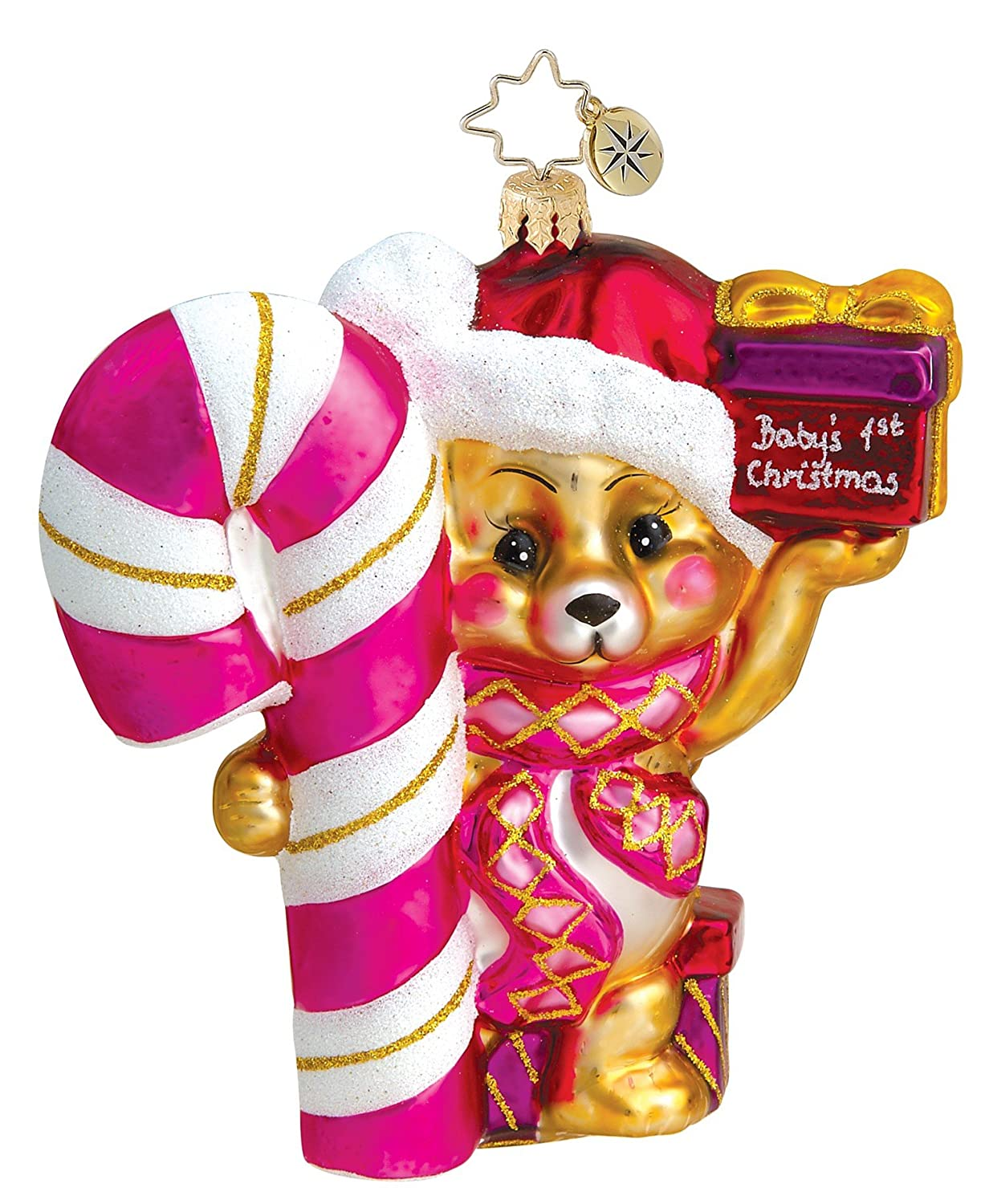 Amazon: Christopher Radko Baby's First Christmas Boy Blown Glass  Ornament Boy Bear: Home & Kitchen