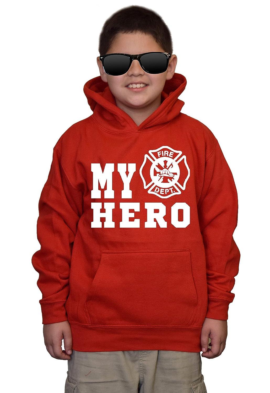 Youth My Hero Firefighters V495 Red kids Sweatshirt Hoodie