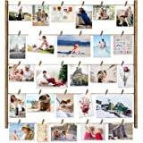 Love-KANKEI Wood Picture Photo Frame for Wall Decor 26×29 inch with 30 Clips and Ajustable Twines Collage Artworks…
