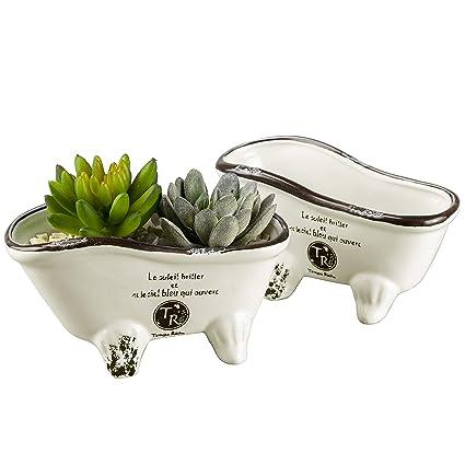 Amazon.com: MyGift White Vintage Porcelain Claw Foot Bathtub ...