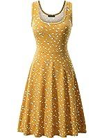 Fensace Women's Sleeveless Scoop Neck Summer Beach Midi Flared Tank Dress