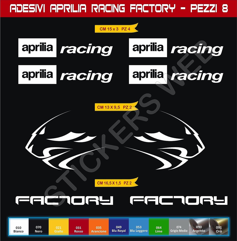Juego de 8 pegatinas Aprilia Racing Factory Leone para moto Color a elegir 0118 C/ódigo