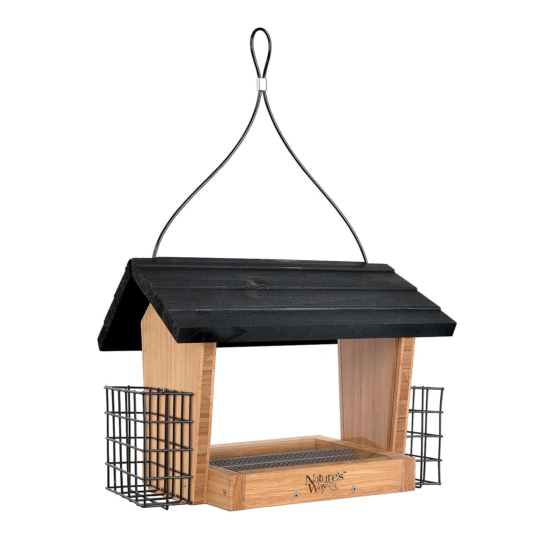 Nature's Way Bird Products BWF19 Bamboo Hopper Bird Feeder with Suet Cage 6-Quart