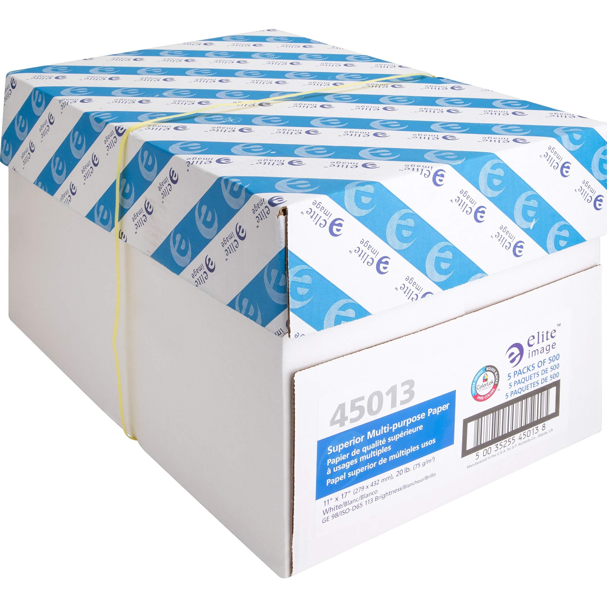 Elite Image 45013 Multipurpose Paper,98 GE/112 ISO,20Ib,11''x17'',5/CT,WE