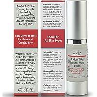 Best 3 Peptide Firming Serum + Hyaluronic Acid + Collagen Tightens Facial Skin, Neck & Eyes - Anti-Aging, Wrinkle & Age Spot Repair, Step 1
