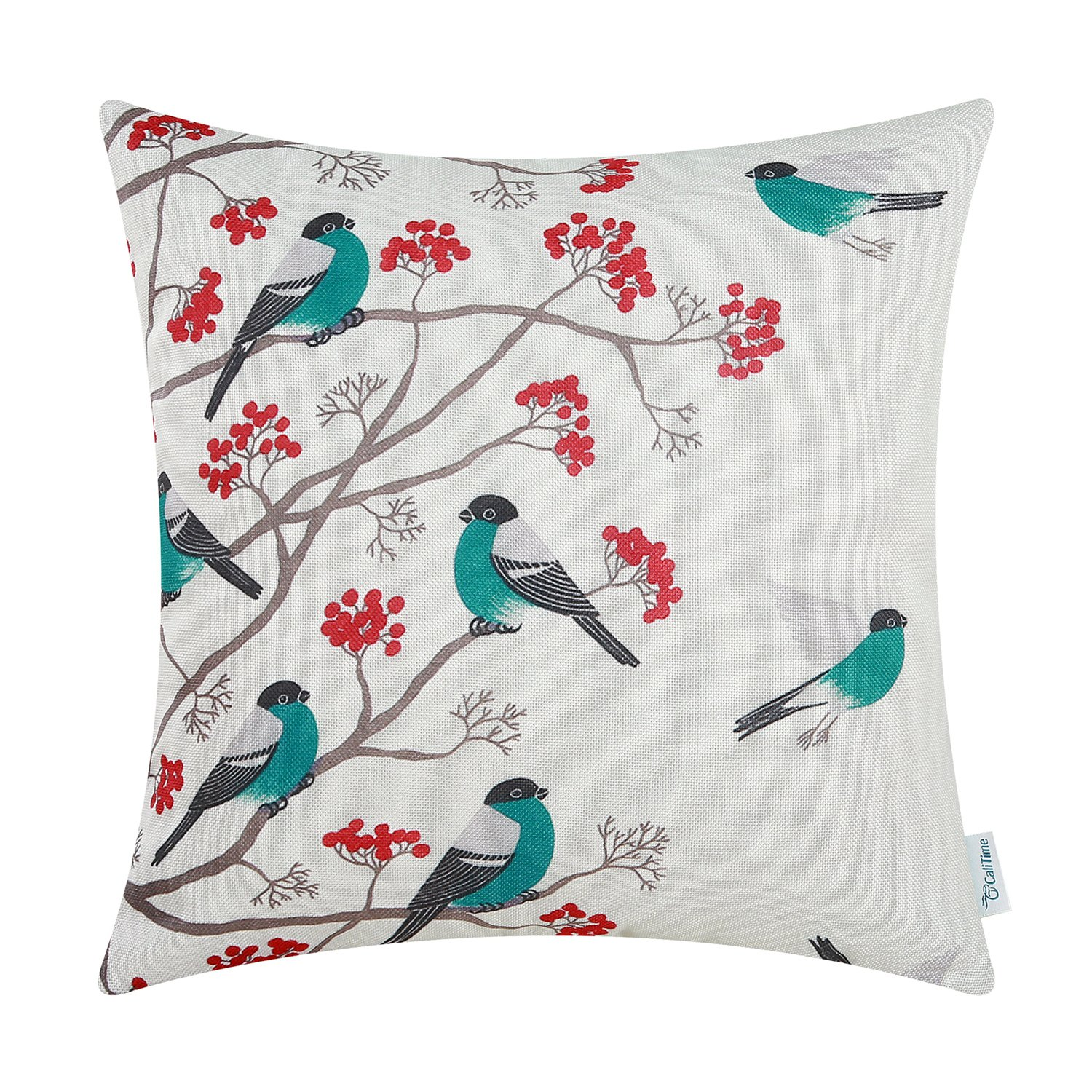 CaliTime Canvas Throw Pillow Cover Case for Couch Sofa Home Decoration Chickadees Birds with Red Floral Tree Branches 18 X 18 inches Teal Birds