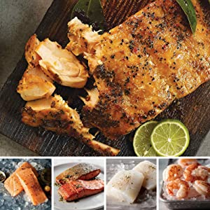 Taste of the Sea Assortment from Omaha Steaks (Marinated Salmon Fillets, Faroe Islands Salmon Fillets, Wild Alaskan Skin-On Sockeye Salmon, Icelandic Cod Fillets, and Wild Argentinian Red Shrimp)