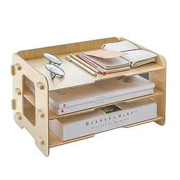Hoomele - Bandeja organizadora de 3 niveles de madera, organizador de escritorio, bandeja para