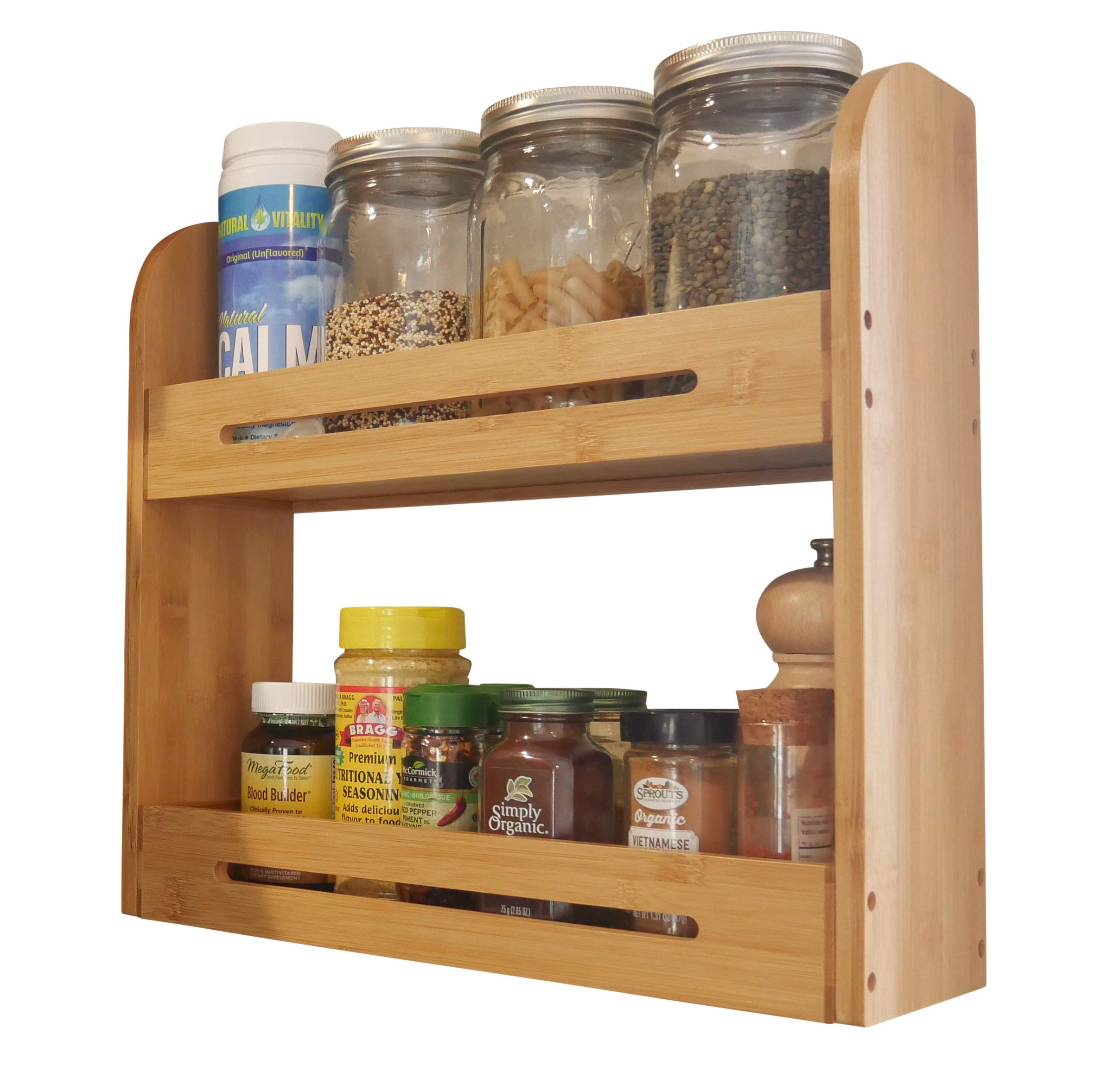 Large Bamboo Spice Rack Stand Two Tiered Wooden Shelf Organizer For Counter Top and Wall Mounted Use | 4 Inch Deep Shelves Fits All Big Sized Bottles Of Spices | Ayurvedic Herbs eBook Included