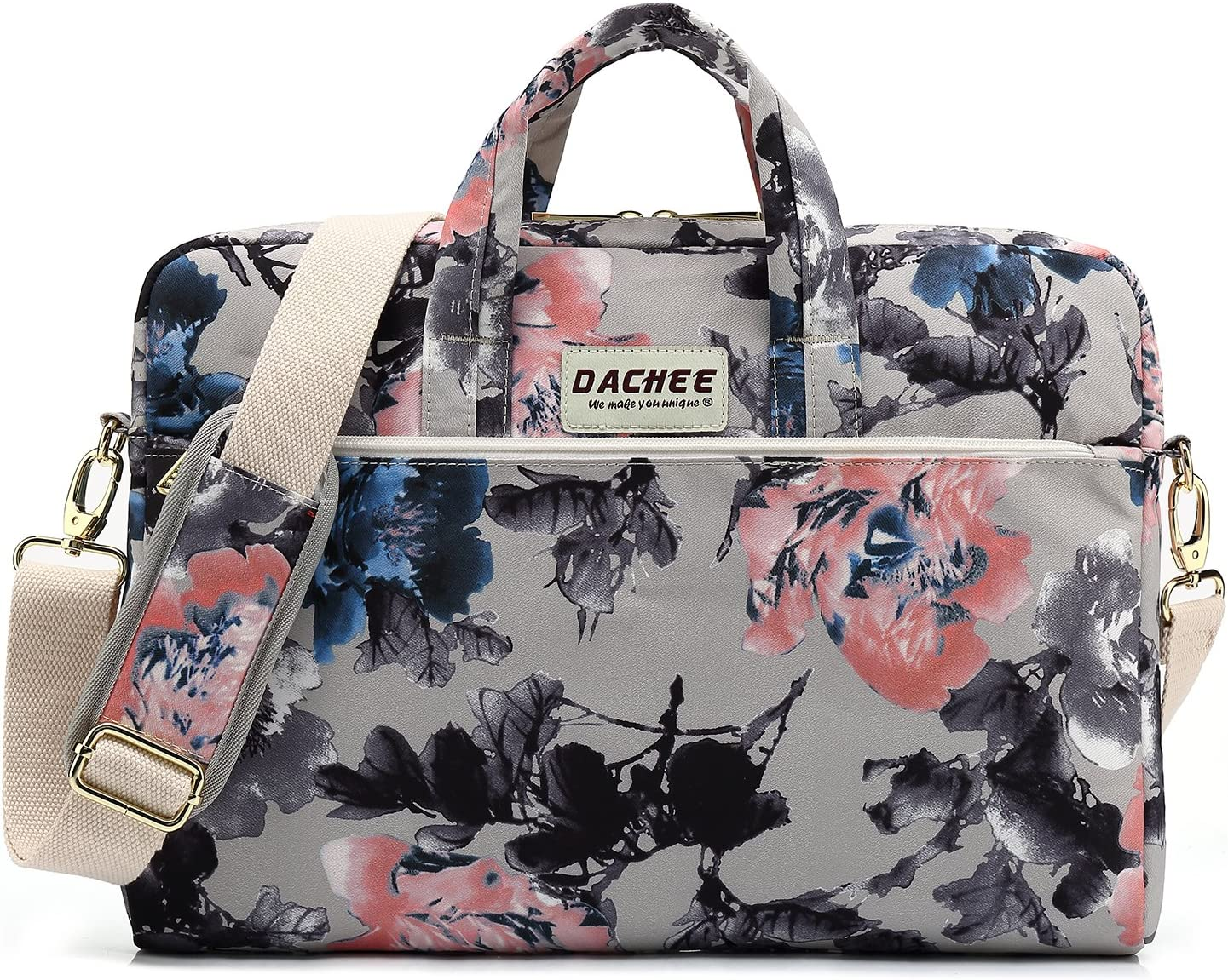 DACHEE Grey Rose Pattern Waterproof Laptop Shoulder Messenger Bag Case Sleeve for 12 inch 13 inch Laptop and 11/12/13.3 inch