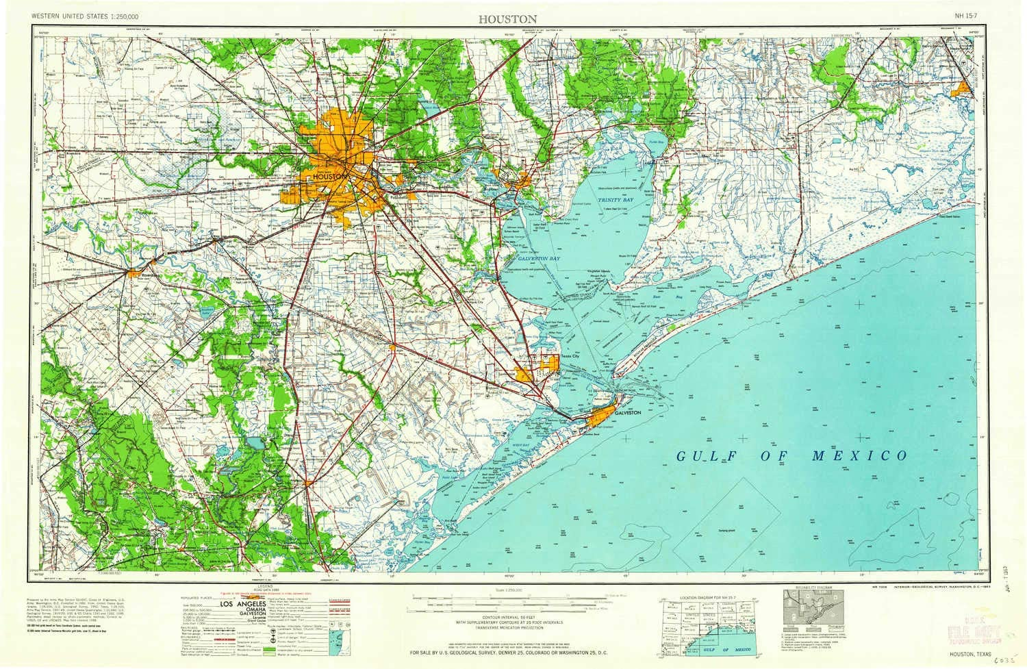topographic map of houston Amazon Com Yellowmaps Houston Tx Topo Map 1 250000 Scale 1 X 2