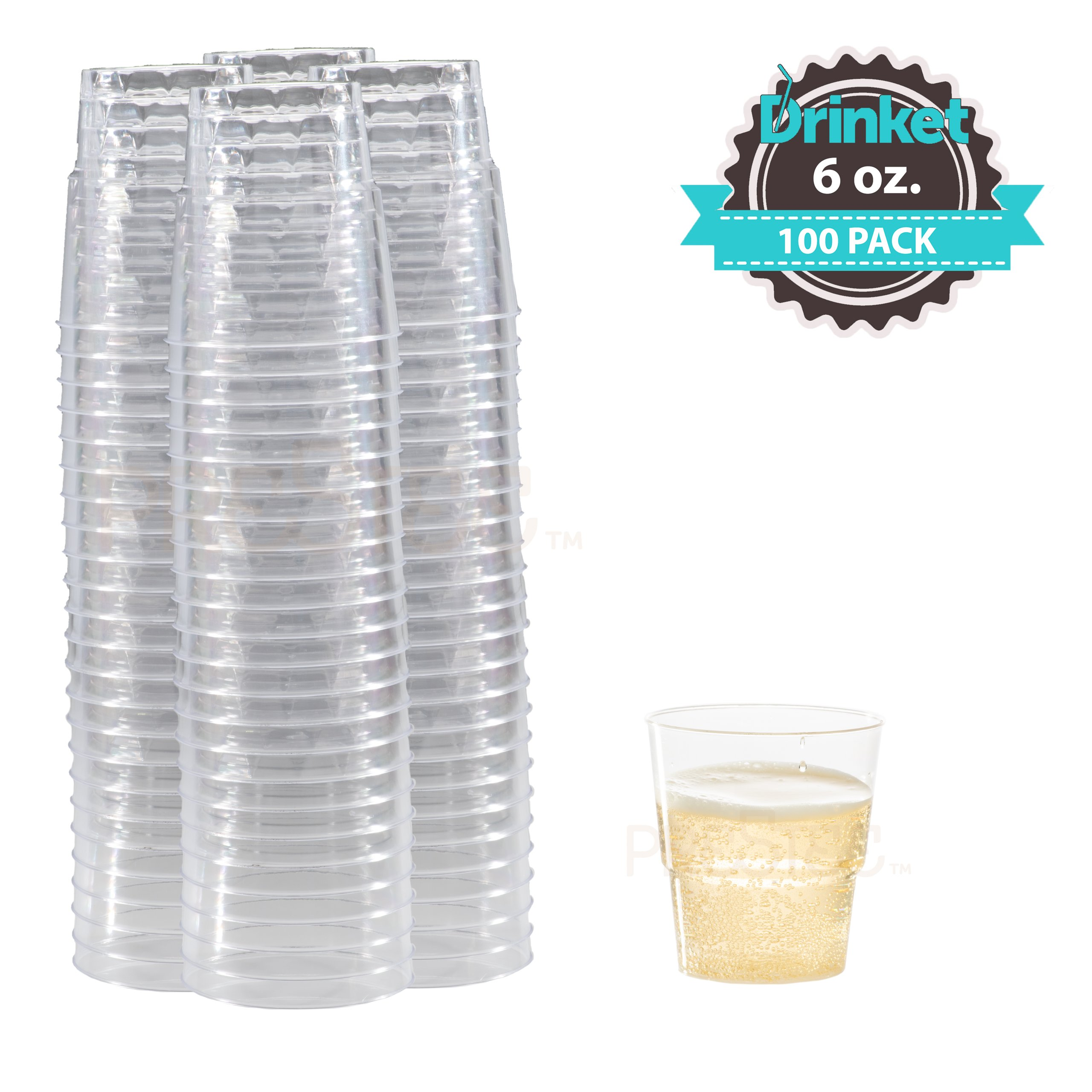 DRINKET Heavy Duty Crystal Clear Glasses Round Hard Plastic Cups 6 Oz Old Fashioned Tumbler 100 Count Bulk Pack Disposable / Reusable | Essential Wine Champagne Flutes Cocktail, Everyday Drinking Cup by Prestee