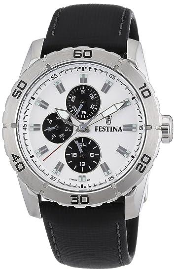 Festina F16607/1 - Reloj analógico de Cuarzo para Hombre con Correa de Piel, Color Negro: Festina: Amazon.es: Relojes