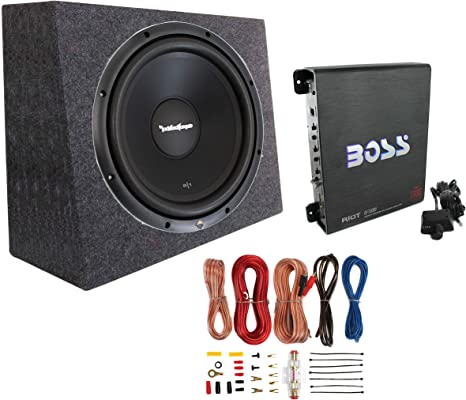 Rockford Fosgate 10 500W Complete Subwoofer Bass Package Includes Loaded Subwoofer Enclosure Amplifier Amplifier Wiring Kit