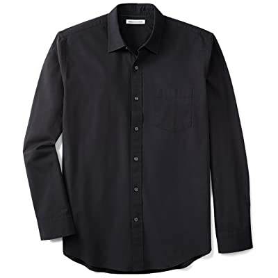 Essentials Men's Regular-Fit Long-Sleeve Solid Casual Poplin Shirt: Clothing